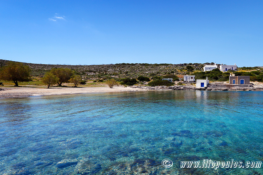 Small houses of fishermen in Limnionas at Kythera, Greece