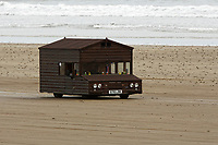 "Pictured: The Fastest Shed in Pendine, west Wales, UK. Saturday 12 May 2018<br /> Re: A motorised shed has broken its own land speed record on a Welsh beach as it hit over 100mph.<br /> The Fastest Shed smashed its previous 80mph (129km/h) record for the fastest shed at a land speed event at Pendine Sands in Carmarthenshire.<br /> Its owner, gardener Kevin Nicks said it was ""marvellous"" to hit 101.043mph (160 km/h) in what he said was the only road legal shed with an engine in the world.<br /> Mr Nicks, from Chipping Norton in Oxfordshire, created his bespoke shed on wheels, which now boasts a turbo-charged 450 brake horsepower turbo engine that is more powerful than many sports cars."