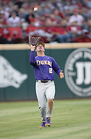 NWA Democrat-Gazette/ANDY SHUPE<br /> LSU left fielder Daniel Cabrera catches a fly ball Friday, May 10, 2019, hit by Arkansas first baseman Trevor Ezell during the third inning at Baum-Walker Stadium in Fayetteville. Visit nwadg.com/photos to see more photographs from the game.