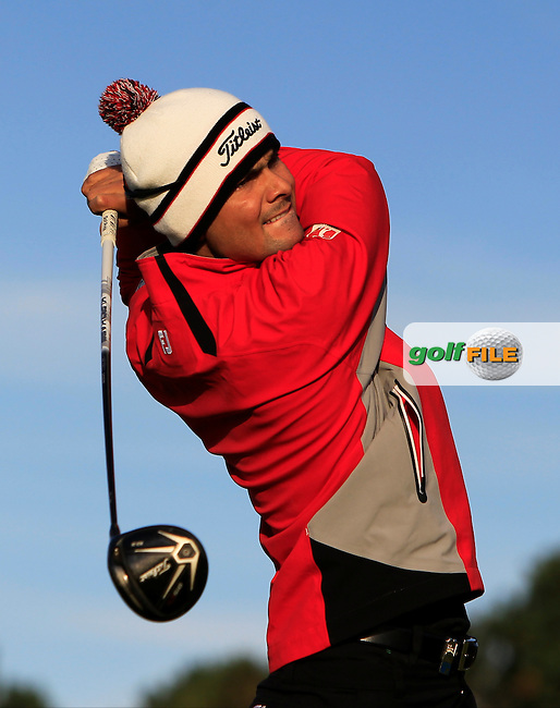 Moritz Lampert (GER) on the 2nd tee during Round 1 of the 2015 KLM Open at the Kennemer Golf &amp; Country Club in The Netherlands on 10/09/15.<br /> Picture: Thos Caffrey | Golffile