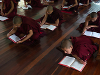 A Monastery in Sagaing, Mandalay, Myanmar Study session