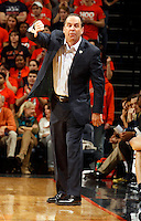 Notre Dame head coach Mike Brey during the game Saturday, February 22, 2014,  in Charlottesville, VA. Virginia won 70-49.