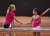 10-08-13, Netherlands, Rotterdam,  TV Victoria, Tennis, NJK 2013, National Junior Tennis Championships 2013, Margriet Timmermans and Lian Tran(r) winners girls doubles 12 years <br /> <br /> Photo: Henk Koster
