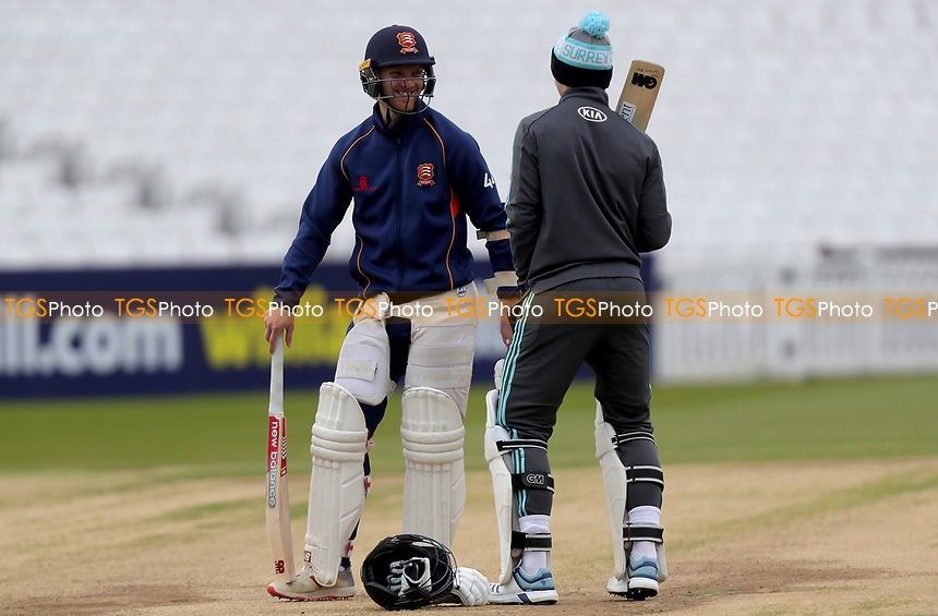 Jamie Porter of Essex talks prior to entering the nets before Surrey CCC vs Essex CCC, Specsavers County Championship Division 1 Cricket at the Kia Oval on 13th April 2019