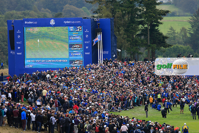 The Big Screen and fans during the Sunday Singles Matches at the 2014 Ryder Cup at Gleneagles. The 40th Ryder Cup is being played over the PGA Centenary Course at The Gleneagles Hotel, Perthshire from 26th to 28th September 2014.: Picture Thos Caffrey, www.golffile.ie: \28/09/2014\