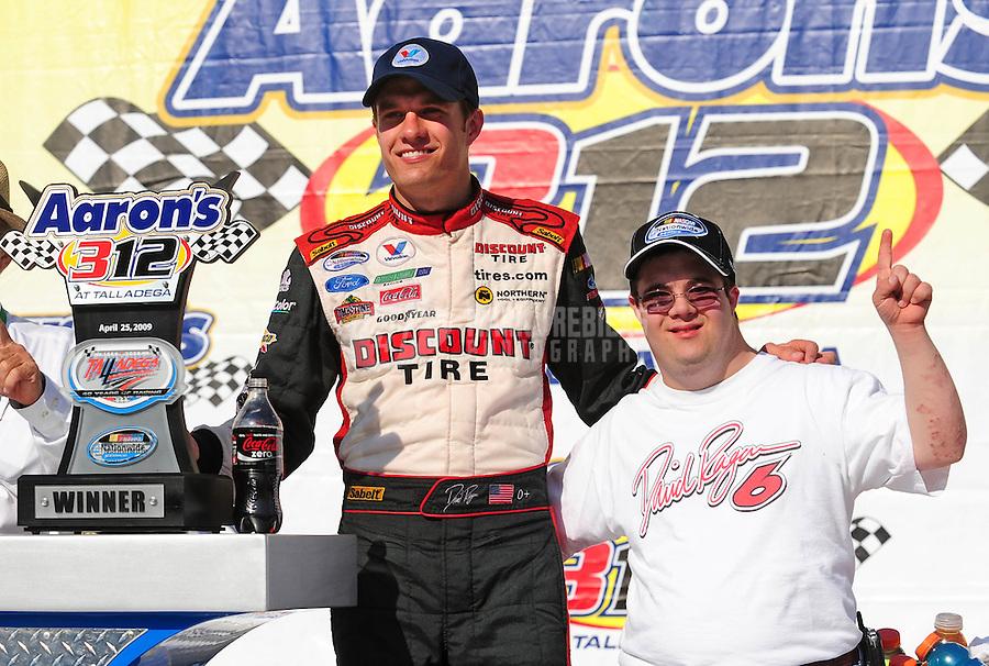 Apr 25, 2009; Talladega, AL, USA; NASCAR Nationwide Series driver David Ragan celebrates with his brother  Adam Ragan after winning the Aarons 312 at the Talladega Superspeedway. Mandatory Credit: Mark J. Rebilas-
