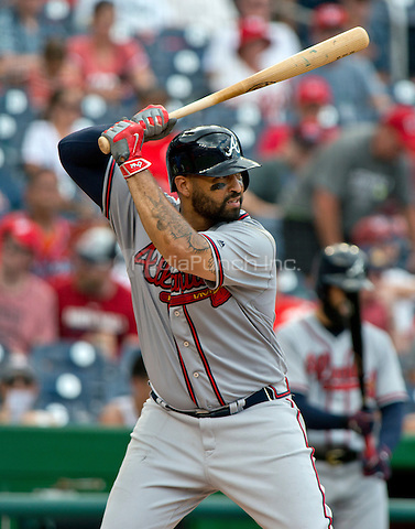 Atlanta Braves left fielder Matt Kemp (27) bats in the ninth inning against the Washington Nationals at Nationals Park in Washington, D.C. on Sunday, August 14, 2016.  The Nationals won the game 9 - 1.<br /> Credit: Ron Sachs / CNP/MediaPunch