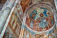 Pictures & images of Nikortsminda ( Nicortsminda ) St Nicholas Georgian Orthodox Cathedral rich interior frescoes of the altar apse, 16th century, Nikortsminda, Racha region of Georgia (country). A UNESCO World Heritage Tentative Site.