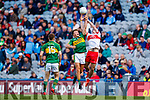 Fiáchra Clifford Kerry in action against Odhran Quinn Derry in the All-Ireland Minor Footballl Final in Croke Park on Sunday.