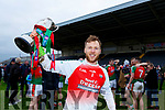 The Kilcummin captain Brendan Kealy celebrates after winning the Munster Intermediate Championship in Mallow on Sunday