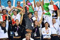 Il tifo degli azzurri in tribuna per Federica Pellegrini. Al centro Filippo Magnini e sulla sinistra Luca Marin.London 29/7/2012 Aquatics Centre.London 2012 Olympic games - Olimpiadi Londra 2012.Swimming - Nuoto.Foto Andrea Staccioli Insidefoto