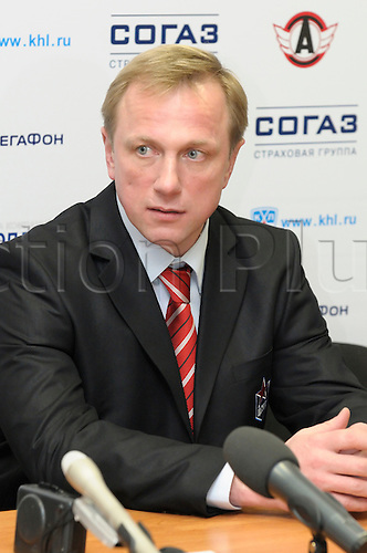 EKATERINBURG, RUSSIA - NOV 25: CSKA head coach, Sergey Nemchinov during the press-conference after Kontinental Hockey League men's hockey game between Automobilist Ekaterinburg and CSKA Moscow held on Nov 25, 2009 in Ekaterinburg, Russia. CSKA Moscow beat Automobilist, 4:1 Photo by DMITRY ARGUNOV/actionplus. UK Licenses Only