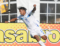 Honduras forward Carlos Costly (13) celebrates his score in the 51th minute of the game. Honduras National Team defeated El Salvador 3-0 at RFK stadium, Saturday June 2, 2012.