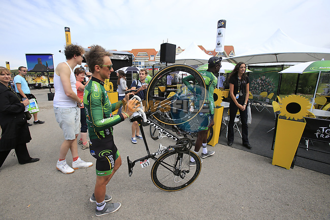 Bryan Coquard and Kevin Reza (FRA) Team Europcar relax in Le Touquet before the start of Stage 4 of the 2014 Tour de France running 163.5km from Le Touquet to Lille. 8th July 2014.<br /> Picture: Eoin Clarke www.newsfile.ie