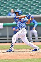 Tennessee Smokies left fielder Charcer Burks (3) swings at a pitch during a game against the Mississippi Braves at Smokies Stadium on May 20, 2018 in Kodak, Tennessee. The Braves defeated the Smokies 7-4. (Tony Farlow/Four Seam Images)