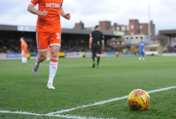 A general view of the match ball as Blackpool's Chris Taylor prepares to take a corner<br /> <br /> Photographer Kevin Barnes/CameraSport<br /> <br /> The EFL Sky Bet League One - AFC Wimbledon v Blackpool - Saturday 29th December 2018 - Kingsmeadow Stadium - London<br /> <br /> World Copyright © 2018 CameraSport. All rights reserved. 43 Linden Ave. Countesthorpe. Leicester. England. LE8 5PG - Tel: +44 (0) 116 277 4147 - admin@camerasport.com - www.camerasport.com