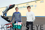 St Senan's players Bill Keane Eoin O'Connell getting ready to make a delivery from St Senan's cubhouse in Mountcoal on Tuesday last.