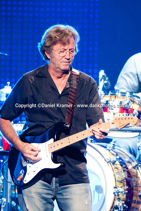 Eric Clapton and Steve Winwood in concert at the Toyota Center in Houston, Texas on June 24, 2009.