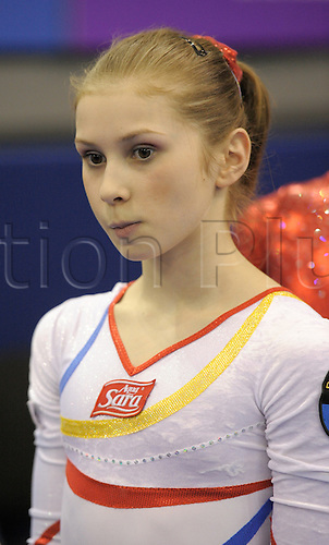 2.5.10 European Gymnastics Championships . Senior Individual Finals. Elena Racea of Romania won the gold medal, Mustafina took silver with a beautiful triple spin and the second Romanian Raluca Haidu who had some very ambitious combinations collected bronze