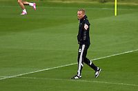 Pictured: Manager Garry Monk. Thursday 14 August 2014<br /> Re: Swansea City FC training at Fairwood, south Wales, ahead of their first game of the Premier League season against Manchester United this coming Saturday.