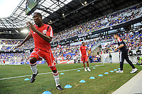 Ibrahim Salou (29) of the New York Red Bulls warms up prior to a friendly between Santos FC and the New York Red Bulls at Red Bull Arena in Harrison, NJ, on March 20, 2010. The Red Bulls defeated Santos FC 3-1.