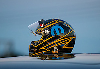 Sep 2, 2016; Clermont, IN, USA; The helmet of NHRA funny car driver Matt Hagan during qualifying for the US Nationals at Lucas Oil Raceway. Mandatory Credit: Mark J. Rebilas-USA TODAY Sports