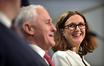 Cecilia Malmstrom, Trade Commissioner of the European Union (R), listens to Malcolm Turnbull, Australian Prime Minister (C), and Steven Ciobo, Australian Minister of Trade (L), during a press conference at Parliament House, Canberra, Monday, June 18, 2018.