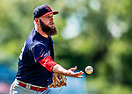 22 July 2018: Louisville Bats pitcher Kevin Quackenbush flips to first for an out against the Syracuse SkyChiefs at NBT Bank Stadium in Syracuse, NY. The Bats defeated the Chiefs 3-1 in AAA International League play. Mandatory Credit: Ed Wolfstein Photo *** RAW (NEF) Image File Available ***