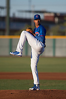 AZL Cubs 2 starting pitcher Yovanny Cruz (58) delivers a pitch during an Arizona League game against the AZL Reds at Sloan Park on June 18, 2018 in Mesa, Arizona. AZL Cubs 2 defeated the AZL Reds 4-3. (Zachary Lucy/Four Seam Images)