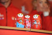 SCHAATSEN: AMSTELVEEN: 15-10-2013, De Jonge Dikkert, Perspresentatie Team LIGA, Russische Matroesjka's, ©foto Martin de Jong