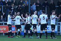 Phil Roberts (second from left) celebrates scoring Dartford's second goal during Dartford vs Woking, Vanarama National League South Football at Princes Park on 23rd February 2019