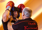 23.08.2011, Stanglwirt, Going, AUT, Vitali Klitschko, Training, im Bild Trainer Fritz Sdunek hilft Vitali Klitschko beim Kopfschutz // during a trainingssession at Hotel Stanglwirt in Going, Austria on 23/8/2011. EXPA Pictures © 2010, PhotoCredit: EXPA/ J. Groder