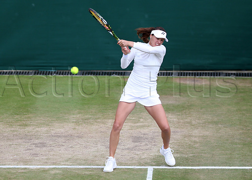 July 11th 2017, All England Lawn Tennis and Croquet Club, London, England; The Wimbledon Tennis Championships, Day 8; Martina Hingis (CHE) hits a backhand return to Roman Jebavy (CZE) during Martina Hingis (CHE) and Jamie Murray (GBR) versus Lucie Hradecka (CZE) and Roman Jebavy (CZE)