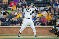 Gavin Sheets (24) of the Wake Forest Demon Deacons at bat against the West Virginia Mountaineers in Game Four of the Winston-Salem Regional in the 2017 College World Series at David F. Couch Ballpark on June 3, 2017 in Winston-Salem, North Carolina.  The Demon Deacons walked-off the Mountaineers 4-3.  (Brian Westerholt/Four Seam Images)