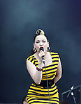Imelda May plays the Vodafone Stage on Day 2 of the Oxegen Festival, Punchestown, Co.Kildare...(Photo credit should read Jenny Matthews www.newsfile.ie)....This Picture has been sent you under the conditions enclosed by:.Newsfile Ltd..The Studio,.Millmount Abbey,.Drogheda,.Co Meath..Ireland..Tel: +353(0)41-9871240.Fax: +353(0)41-9871260.GSM: +353(0)86-2500958.email: pictures@newsfile.ie.www.newsfile.ie.