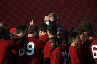 2 February 2007: The team huddles during winter practice workouts at Stanford Stadium in Stanford, CA.