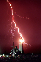 Lightning strikes near Scituate Lighthouse on July 7, 1997.