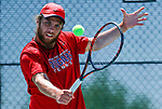 SURPRISE, AZ - MAY 12: Zach Whaanga of the Columbus State Cougars returns a ball against Carlos Gomez of the Barry Buccaneers during the Division II Men's Tennis Championship held at the Surprise Tennis & Racquet Club on May 12, 2018 in Surprise, Arizona. (Photo by Jack Dempsey/NCAA Photos via Getty Images)