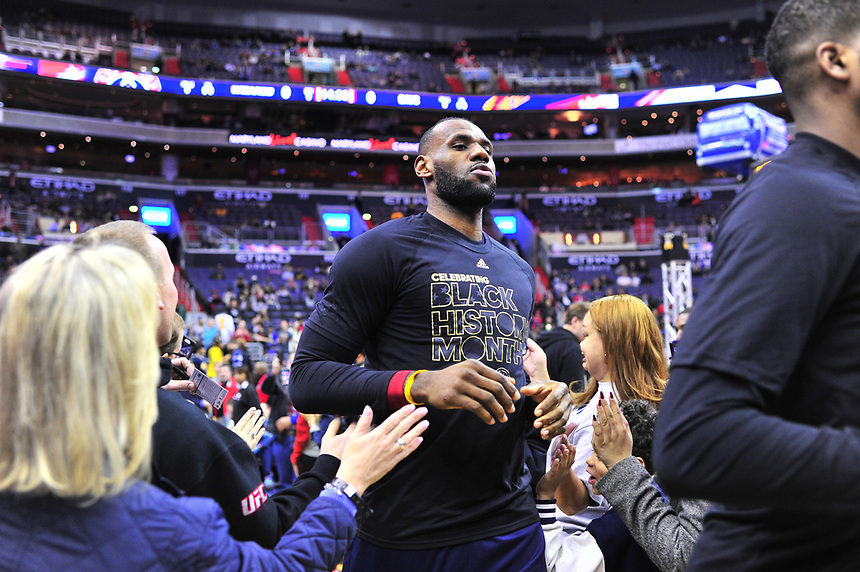 Lebron James enters the arena prior to tip-off against the Wizards at the Verizon Center in Washington, D.C. on Monday, February 6, 2017.  Alan P. Santos/DC Sports Box
