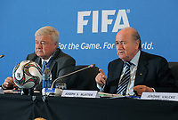 CBF President Ricardo Terra Teixeira (Brasil) and FIFA President Joseph S. Blatter (SUI) during the 2014 world cup announcement in Brasil.  On April 6th 2020, in addition to Ricardo Teixeira, the former president of the Brazilian Football Confederation and the now-deceased ex-COMNEBOL president Nicolas Leoz and a co-conspirator, two former Fox employees have been indicted as part of the investigation into corruption by US official, which claims that Russia and Qatar offered and paid bribes to secure votes in the process that saw them awarded the 2018 and 2022 World Cups,  an indictment in the United States alleges. The document, was brought by federal prosecutors in New York as part of the long-running investigation into corruption surrounding football's governing body