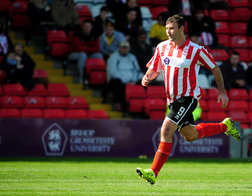 Lincoln City's Matt Rhead<br /> <br /> Photographer Andrew Vaughan/CameraSport<br /> <br /> Football - Vanarama National League - Lincoln City v Woking - Saturday 23rd April 2016 - Sincil Bank - Lincoln <br /> <br /> &copy; CameraSport - 43 Linden Ave. Countesthorpe. Leicester. England. LE8 5PG - Tel: +44 (0) 116 277 4147 - admin@camerasport.com - www.camerasport.com