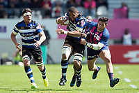 Taulupe Faletau of Bath Rugby takes on the Stade Francais defence. European Rugby Challenge Cup Semi Final, between Stade Francais and Bath Rugby on April 23, 2017 at the Stade Jean-Bouin in Paris, France. Photo by: Patrick Khachfe / Onside Images