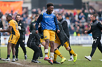 Jennison Myrie-Williams of Newport County celebrates his side's second goal during the Sky Bet League 2 match between Newport County and Notts County at Rodney Parade, Newport, Wales on 6 May 2017. Photo by Mark  Hawkins / PRiME Media Images.