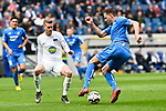 14.04.2019, PreZero Dual Arena, Sinsheim, GER, 1. FBL, TSG 1899 Hoffenheim vs. Hertha BSC Berlin, <br /> <br /> DFL REGULATIONS PROHIBIT ANY USE OF PHOTOGRAPHS AS IMAGE SEQUENCES AND/OR QUASI-VIDEO.<br /> <br /> im Bild: Maximilian Mittelstädt/ Mittelstaedt (#17, Hertha BSC Berlin) gegen Adam Szalai (TSG Hoffenheim #28)<br /> <br /> Foto © nordphoto / Fabisch