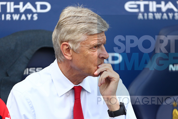 Arsenal's manager, Arsene Wenger during the Barclays Premier League match at the Etihad Stadium. Photo credit should read: Philip Oldham/Sportimage