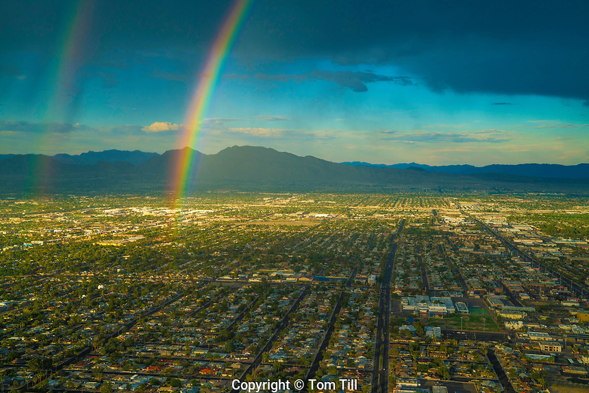 Rainbow over Las Vegas and shadow of Stratosphere Observation Tower, Nevada