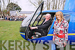 Bertie O'Connor, retiring principal, Cullina National School pictured with incoming principal Moira Cronin before he lifted off from the school on Friday afternoon.