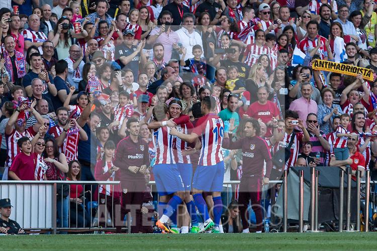 Filipe Luis of Atletico de Madrid celebrates after scoring a goal during the match of La Liga between  Atletico de Madrid and Club Atletico Osasuna at Vicente Calderon  Stadium  in Madrid, Spain. April 15, 2017. (ALTERPHOTOS / Rodrigo Jimenez)