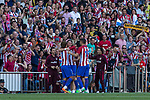 Filipe Luis of Atletico de Madrid celebrates after scoring a goal during the match of La Liga between  Atletico de Madrid and Club Atletico Osasuna at Vicente Calderon  Stadium  in Madrid, Spain. April 15, 2017. (ALTERPHOTOS / Rodrigo Jimenez)