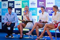 ATENÇÃO EDITOR: FOTO EMBARGADA PARA VEÍCULOS INTERNACIONAIS. SAO PAULO, SP, 06 DE DEZEMBRO DE 2012. APRESENTAÇÃO DO TORNEIO GILLETTE FEDERER TOUR.  os tenistas Roger Federer,  Maria Sharapova , Victoria Azarenka e Caroline Wozniacki durante a apresentação do novo torneio Gillette Federer Tour,  na manhã desta quinta feira na zona sul da capital paulista. O Gillette Federer Tour reunirá, durante quatro dias, o melhor do tênis mundial, no Ginásio do Ibirapuera, de 6 a 9 de dezembro, com a participação de grandes estrelas como Roger Federer, Tommy Haas, Thomaz Bellucci, Jo-Wilfried Tsonga, Tommy Robredo, Victoria Azarenka, Maria Sharapova, Serena Williams, Caroline Wozniacki, Bob e Mike Bryan e Marcelo Melo e Bruno Soares.  FOTO ADRIANA SPACA - BRAZIL PHOTO PRESS Maria Sharapova durante a apresentação do novo torneio Gillette Federer Tour,  na manhã desta quinta feira na zona sul da capital paulista. O Gillette Federer Tour reunirá, durante quatro dias, o melhor do tênis mundial, no Ginásio do Ibirapuera, de 6 a 9 de dezembro, com a participação de grandes estrelas como Roger Federer, Tommy Haas, Thomaz Bellucci, Jo-Wilfried Tsonga, Tommy Robredo, Victoria Azarenka, Maria Sharapova, Serena Williams, Caroline Wozniacki, Bob e Mike Bryan e Marcelo Melo e Bruno Soares.  FOTO ADRIANA SPACA - BRAZIL PHOTO PRESS